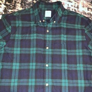 JCREW shirt sz Small GREEN/BLUE pattern